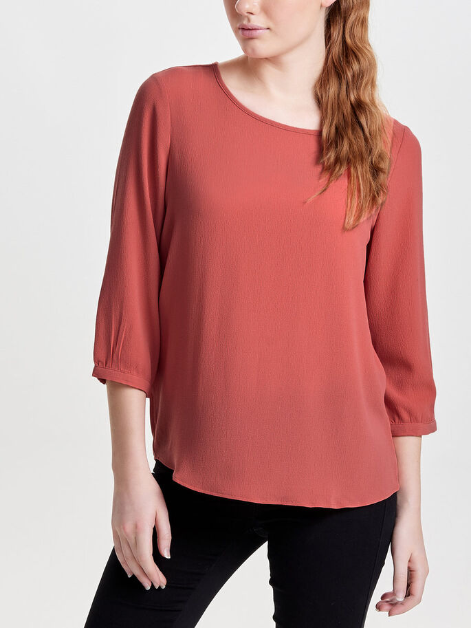 LOOSE 3/4 SLEEVED BLOUSE, Faded Rose, large