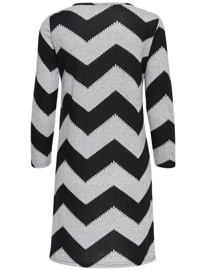 ZIGZAG SHORT DRESS, Light Grey Melange, large