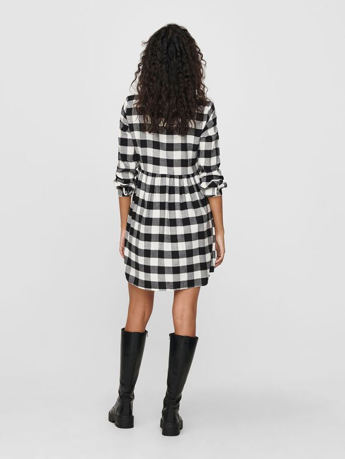 CHECKED SHIRT DRESS, Cloud Dancer, large