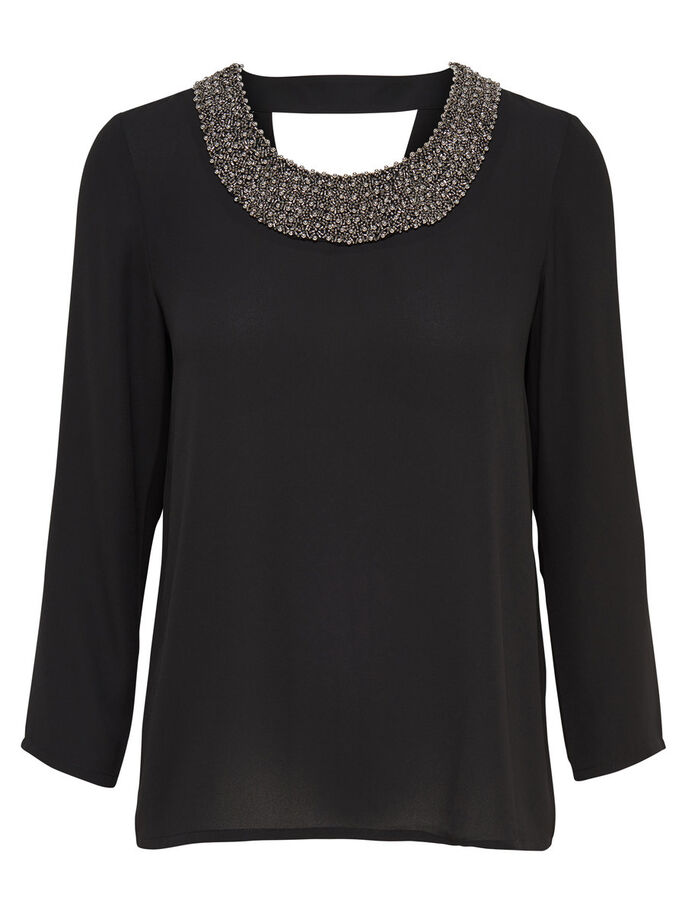 DETAILED LONG SLEEVED TOP, Black, large