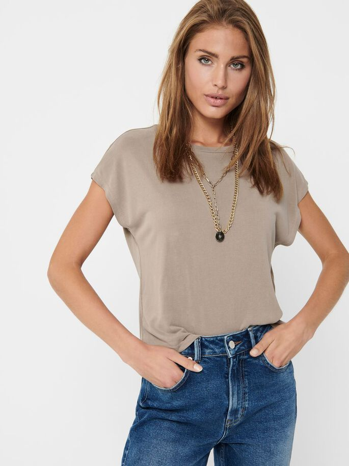 O-NECK SHORT SLEEVED TOP, Taupe Gray, large