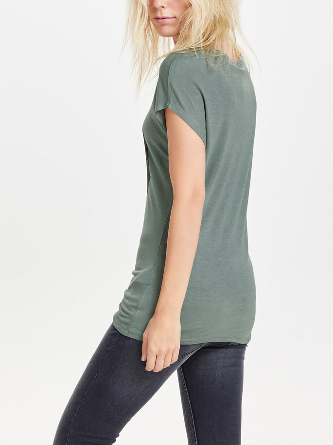 PRINTED SHORT SLEEVED TOP, Balsam Green, large