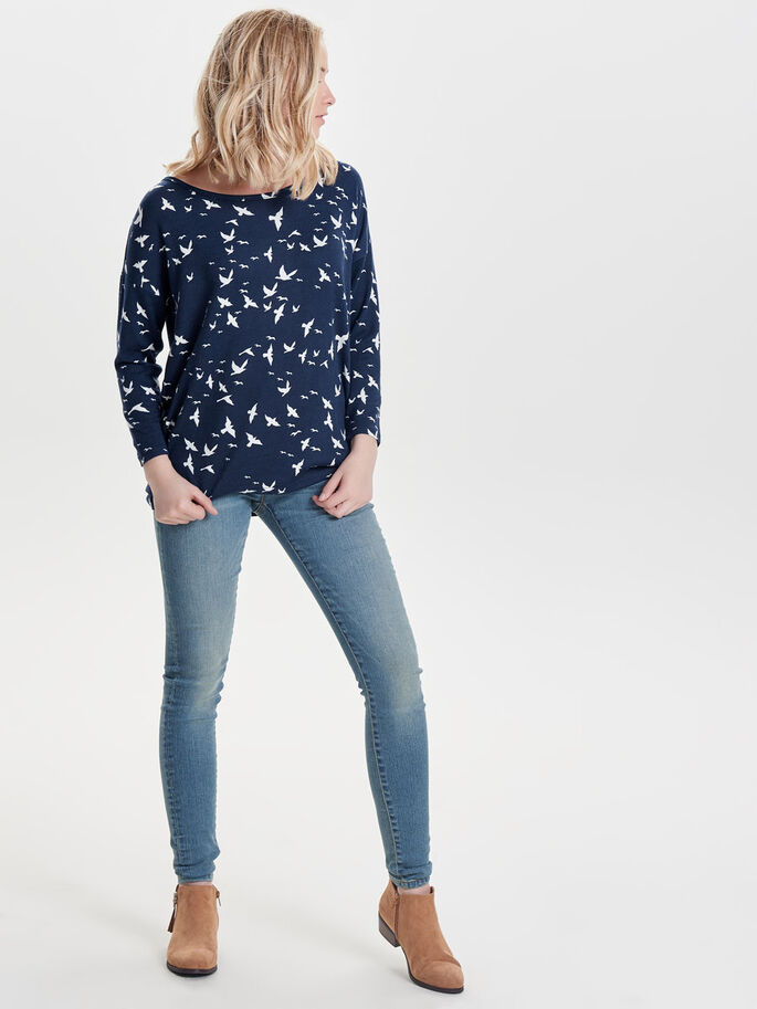 PRINTED LONG SLEEVED TOP, Night Sky, large