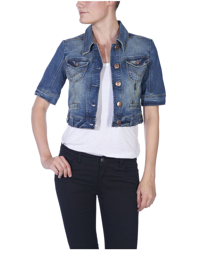 SHORT DENIM JACKET, DENIM, large