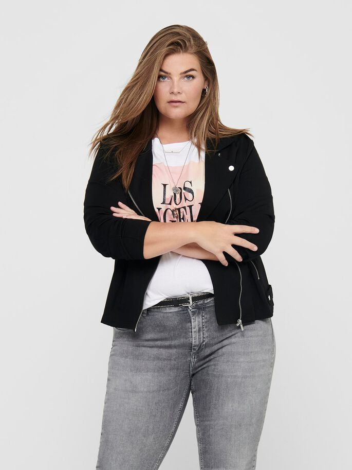 CURVY BIKER JACKET, Black, large