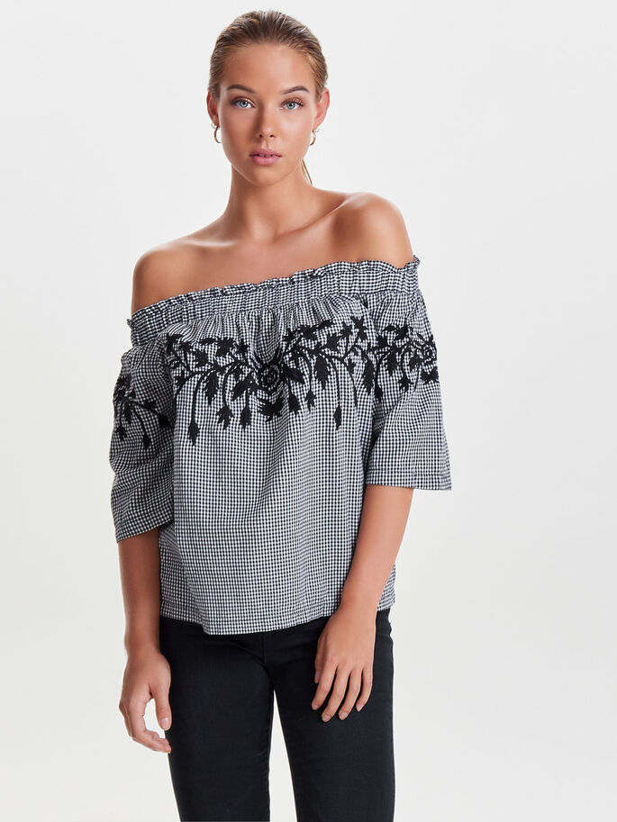 OFF SHOULDER SHORT SLEEVED TOP, Black, large