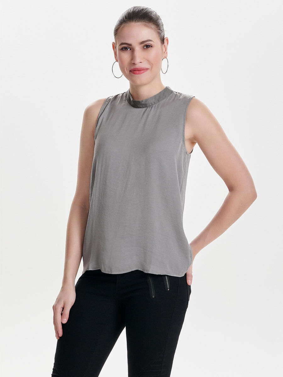 Only Detailed Sleeveless Top Women Grey Outlet Store Online Clearance Outlet Store DmoGZNngmj