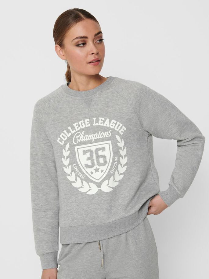 FRONT PRINT SWEATSHIRT, Light Grey Melange, large