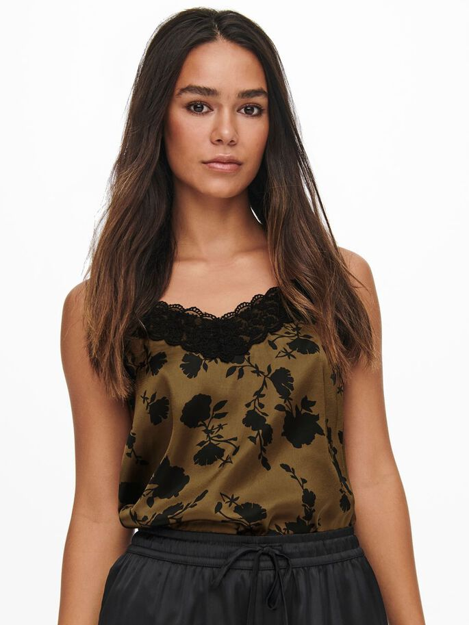LACE DETAIL CAMI, Toffee, large