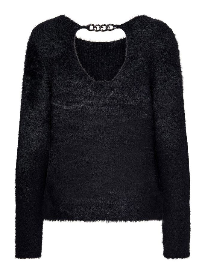 CHAIN DETAILED PULLOVER, Black, large