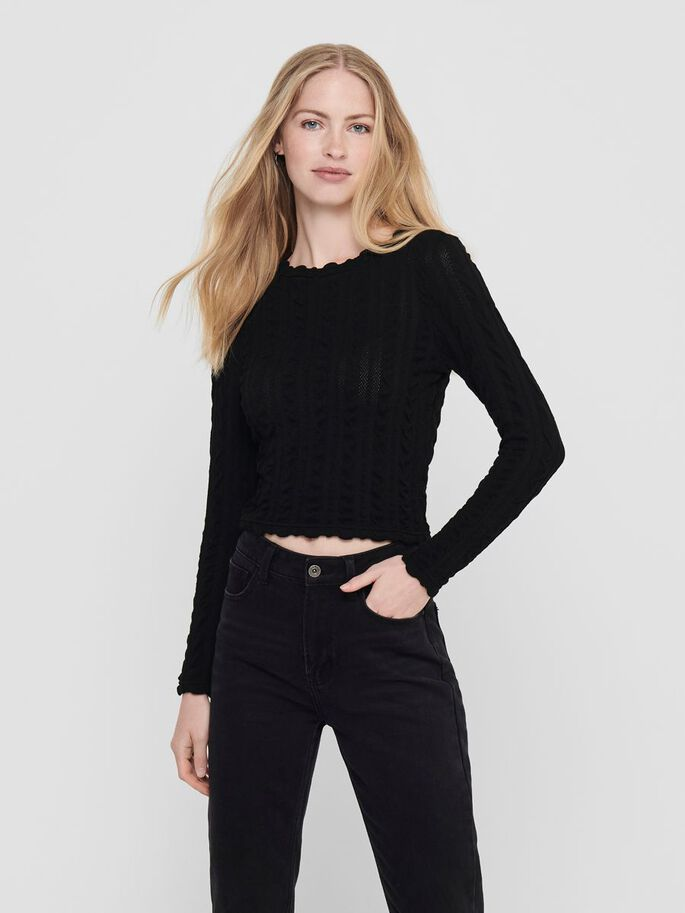 CROPPED TOP, Black, large