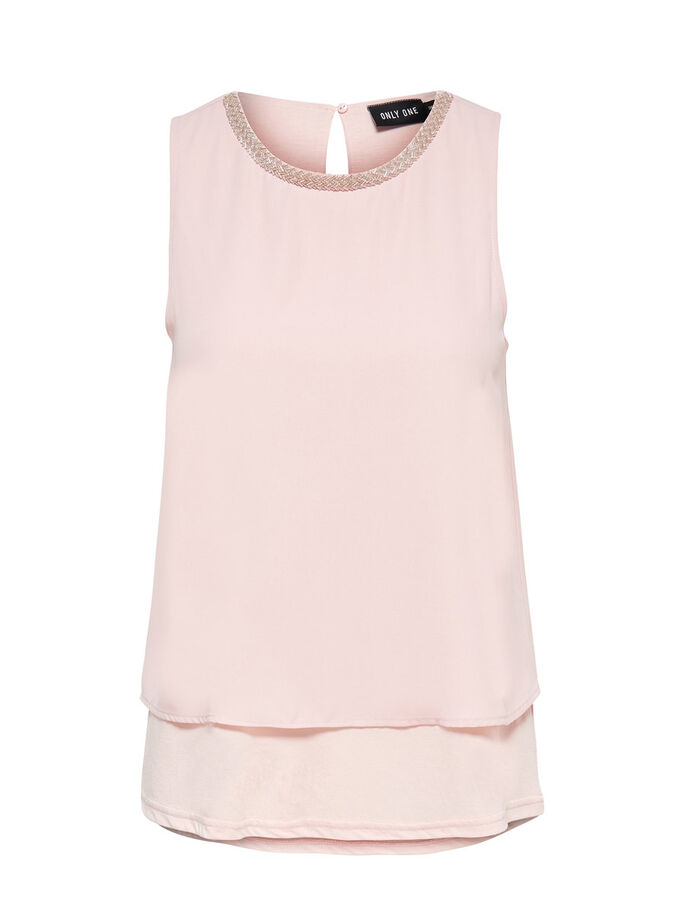 GEDETAILLEERDE MOUWLOZE TOP, Peach Whip, large