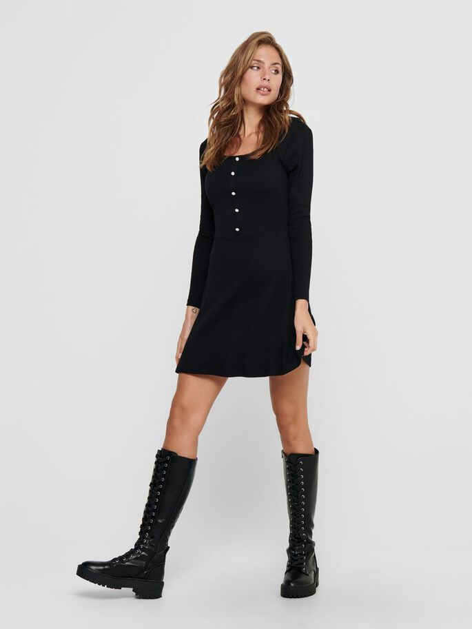 DETAILED KNITTED DRESS, Black, large
