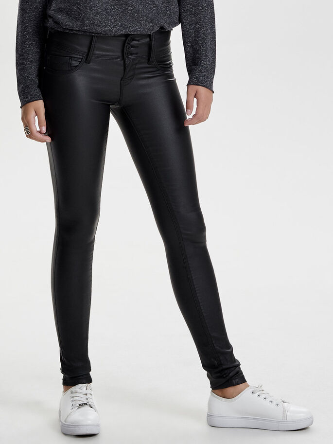 ANEMONE LOW COATED SKINNY JEANS, Black, large