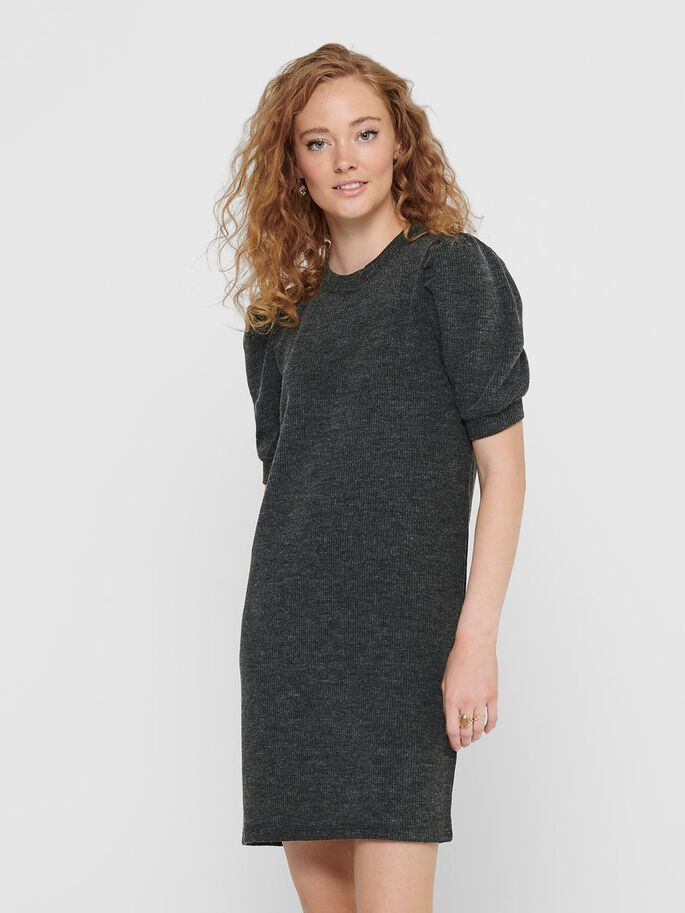 PUFF SLEEVE SHORT DRESS, Dark Grey Melange, large