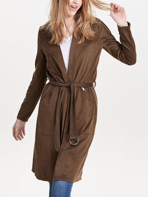 LONG IMITATION DAIM MANTEAU