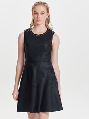 LEATHER LOOK SLEEVELESS DRESS
