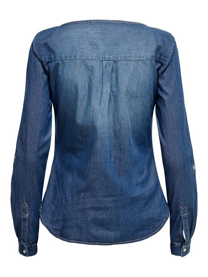 DETAILLIERTES JEANSHEMD, Medium Blue Denim, large