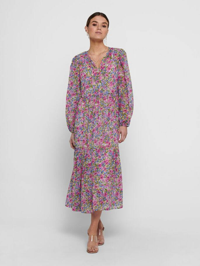 WIDE FITTED SLEEVE MAXI DRESS, Lilac Sachet, large
