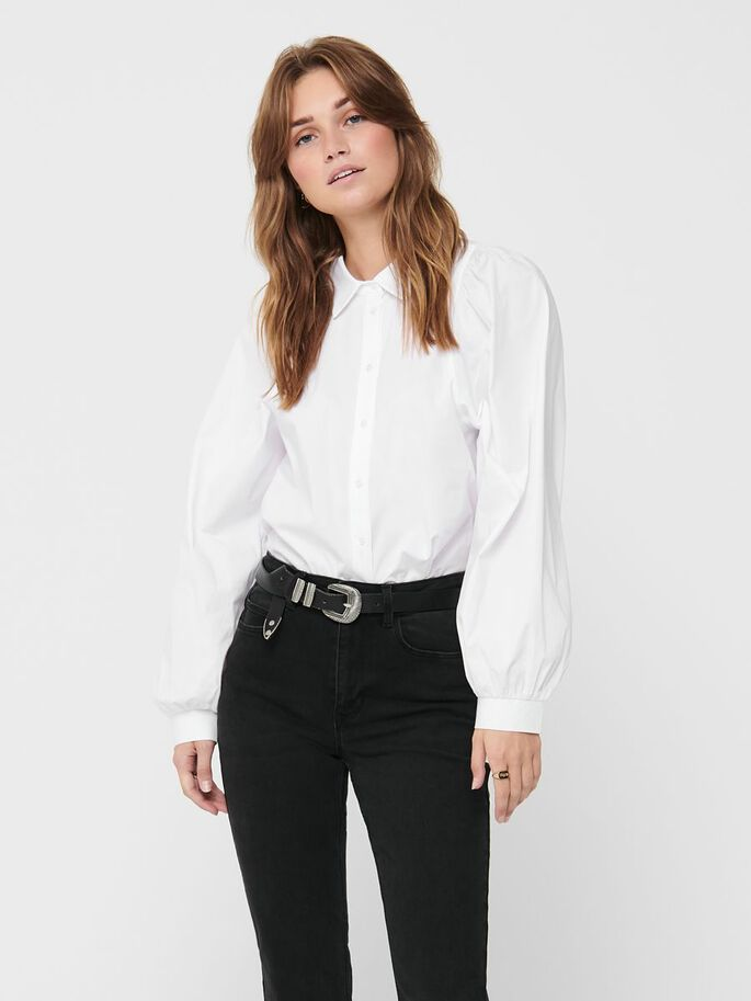 PUFFSLEEVE SHIRT, White, large