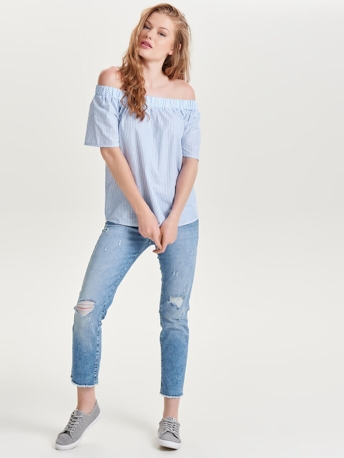 OFF-SHOULDER- OBERTEIL MIT KURZEN ÄRMELN, Cashmere Blue, large