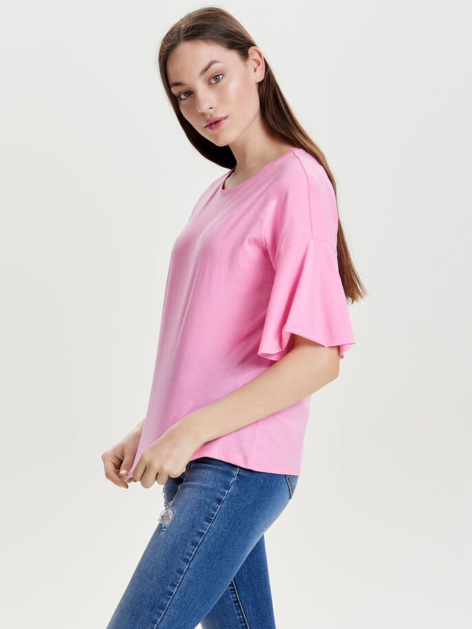 LOOSE FIT TOP MET KORTE MOUWEN, Prism Pink, large