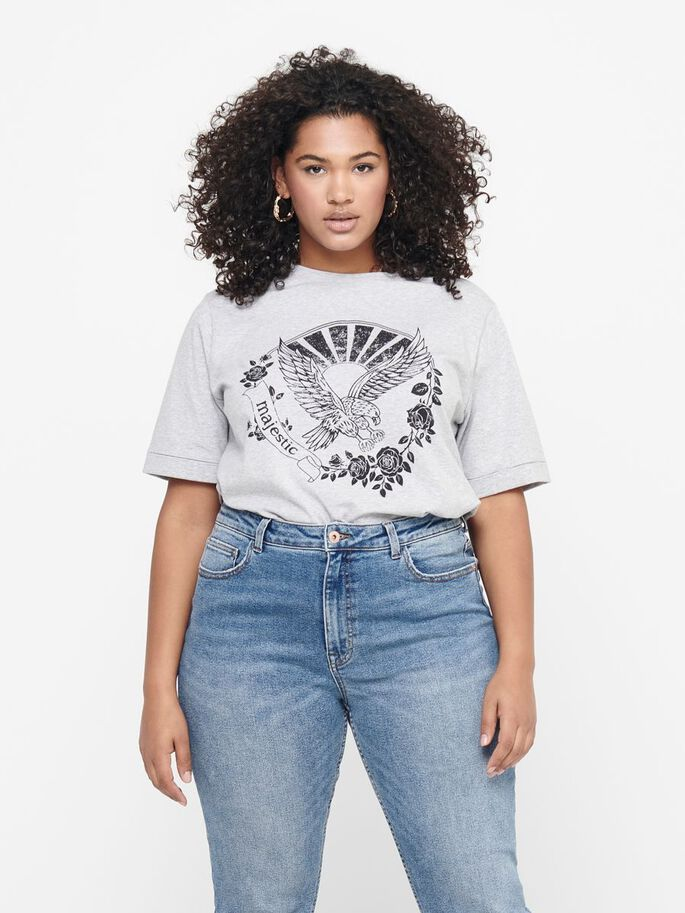 CURVY PRINT T-SHIRT, Light Grey Melange, large
