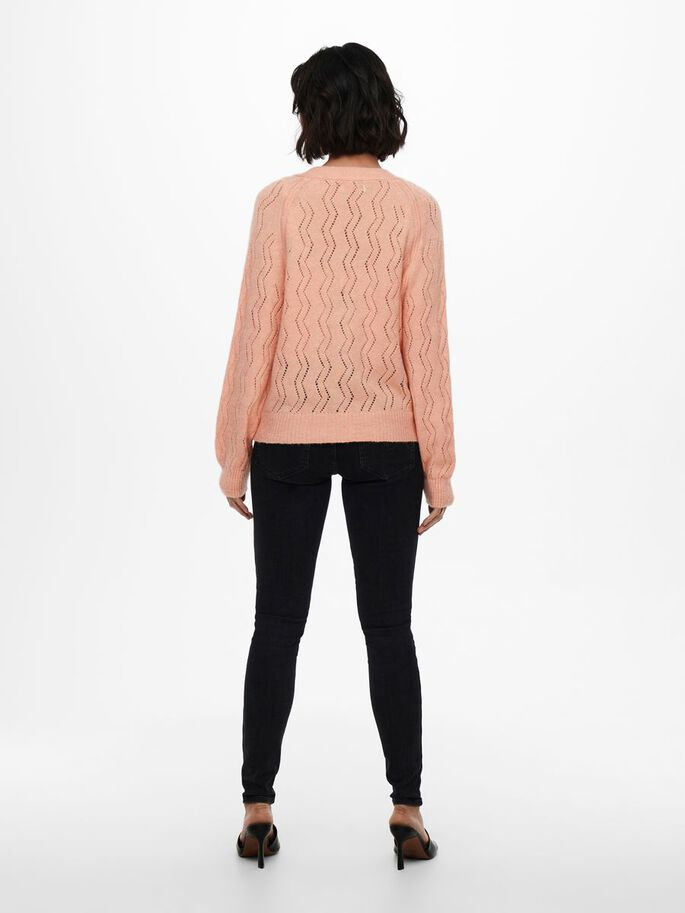 TEXTURE KNITTED CARDIGAN, Peach, large