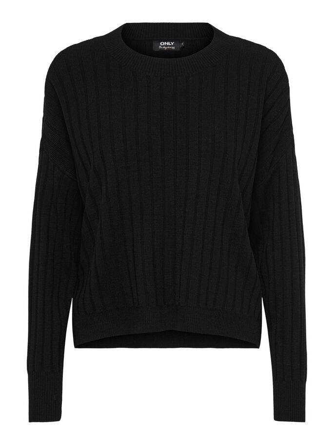 STRUKTUR STRICKPULLOVER, Black, large