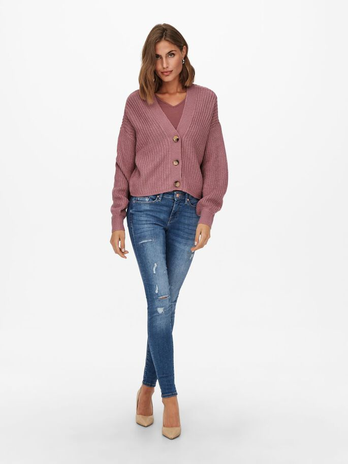 SOLID COLORED KNITTED CARDIGAN, Nostalgia Rose, large