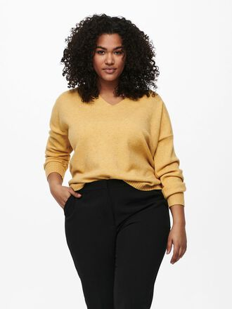 CURVY V-NECK KNITTED PULLOVER
