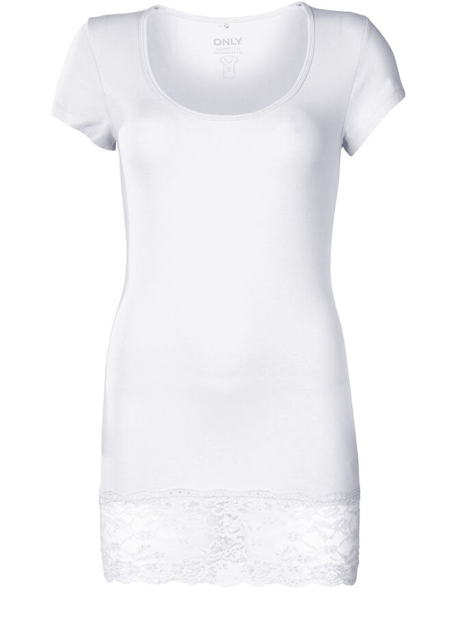 LONG BASIC SHORT SLEEVED BLOUSE, White, large