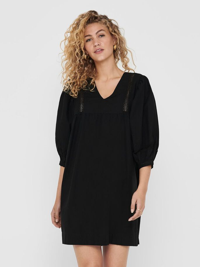 PUFF SLEEVE DRESS, Black, large