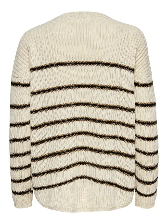 GESTREIFTER STRICKPULLOVER, Pumice Stone, large