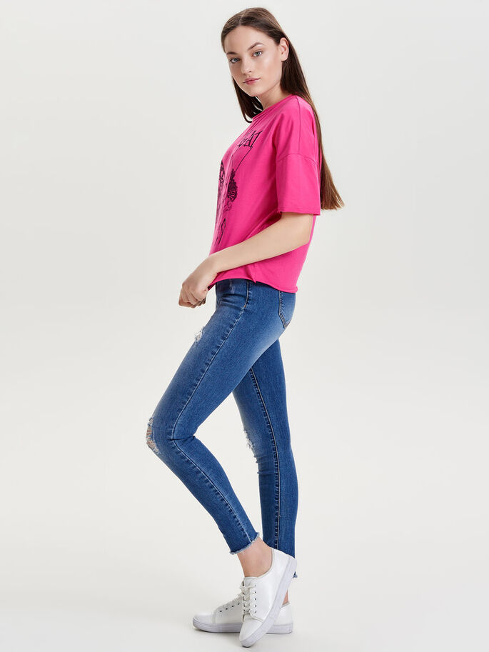 BEDRUKTE TOP MET KORTE MOUWEN, Fuchsia Purple, large