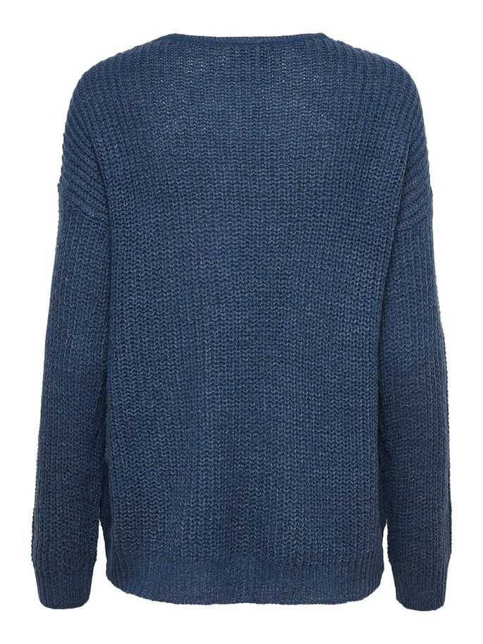 V-NECK KNITTED PULLOVER, Dark Denim, large