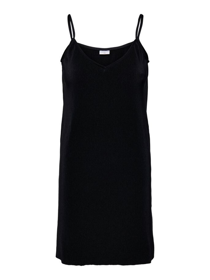 PLEATED SLEEVELESS DRESS, Black, large