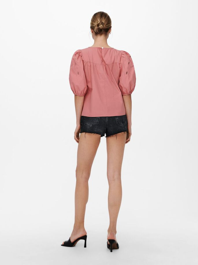 PUFF SLEEVE TOP, Dusty Rose, large