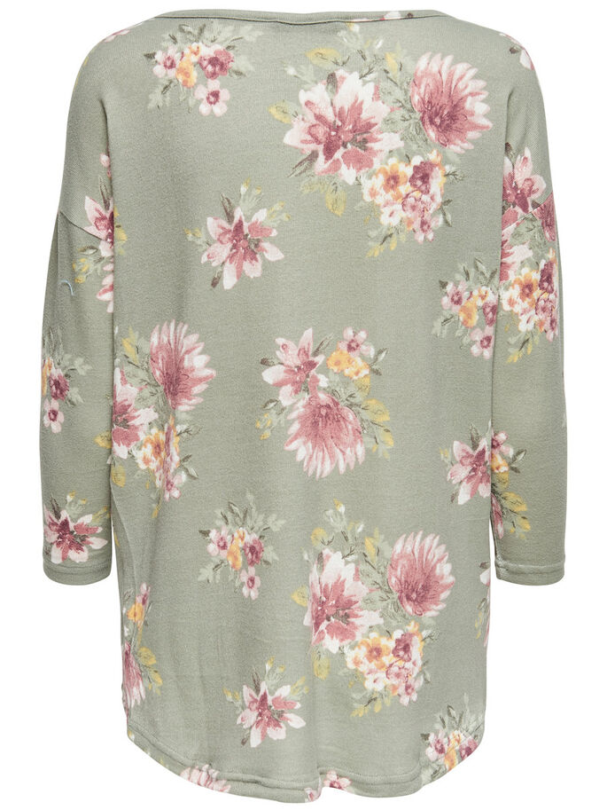 OVERSIZE 3/4 SLEEVED TOP, Sea Spray, large