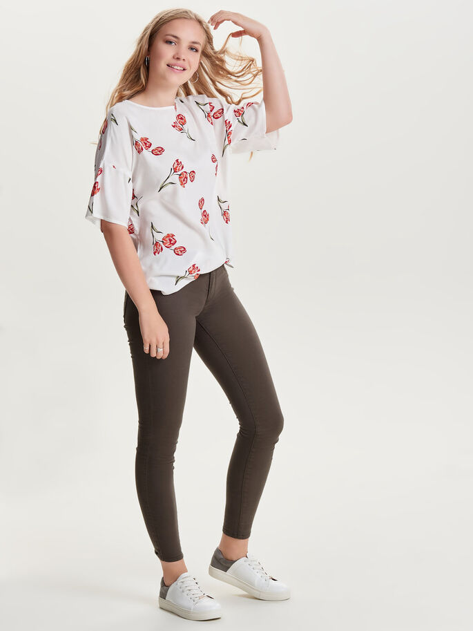 PRINTED 2/4 SLEEVED BLOUSE, Cloud Dancer, large