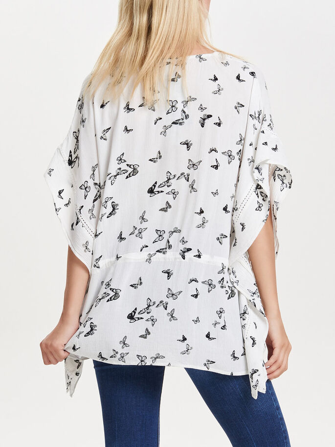 PRINTED PONCHO, Cloud Dancer, large