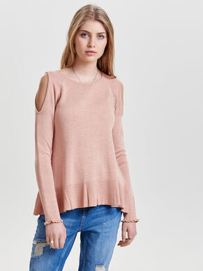 COLD-SHOULDER STRIKKET PULLOVER