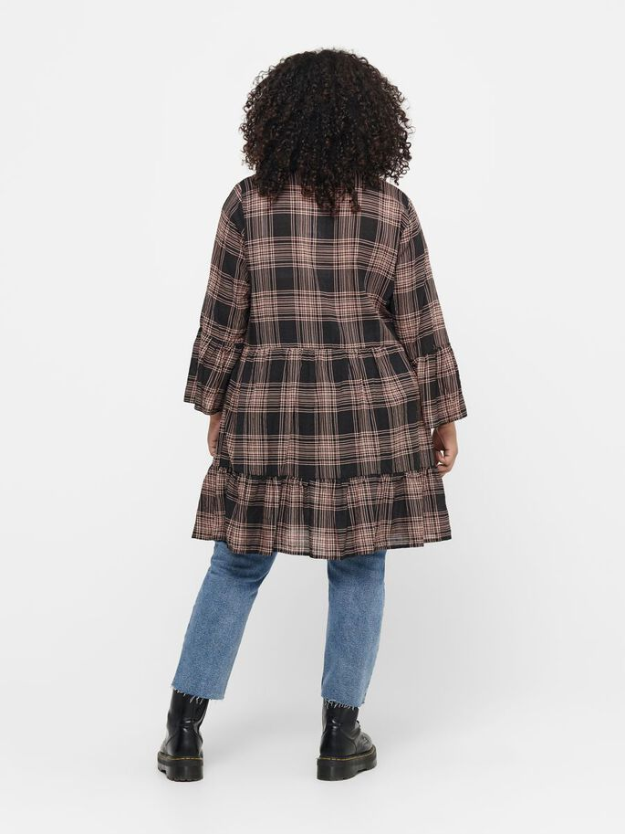 CURVY CHECKED TUNIC, Black, large