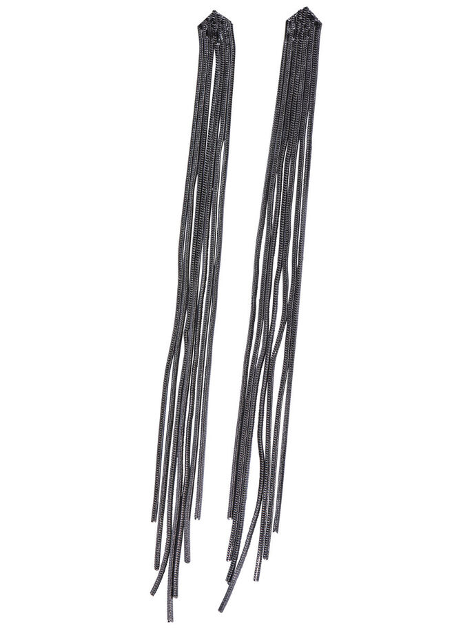 FRINGE EARRINGS, Gunmetal, large