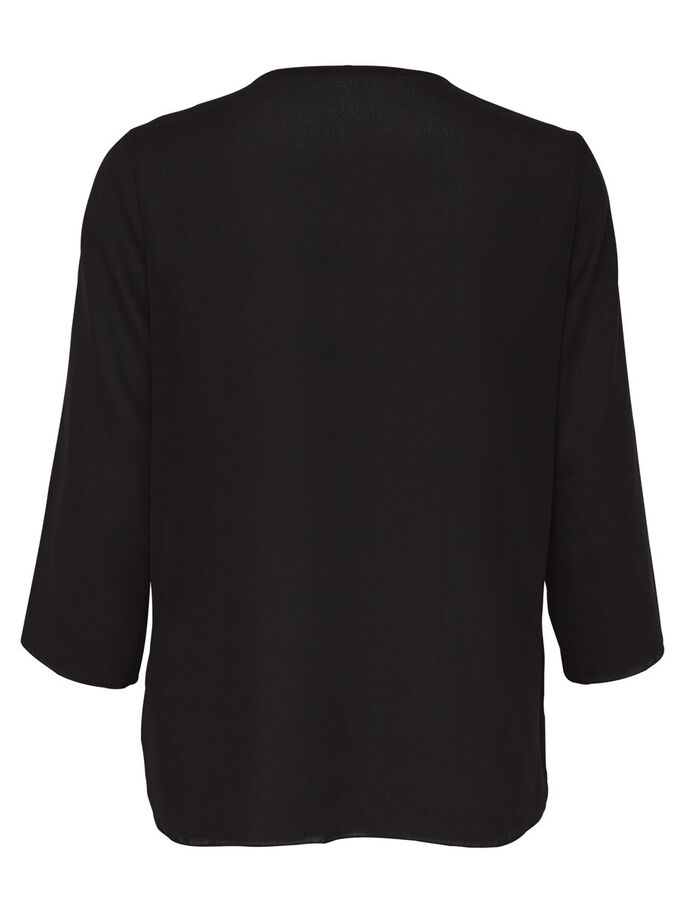 DETAILED 3/4 SLEEVED BLOUSE, Black, large
