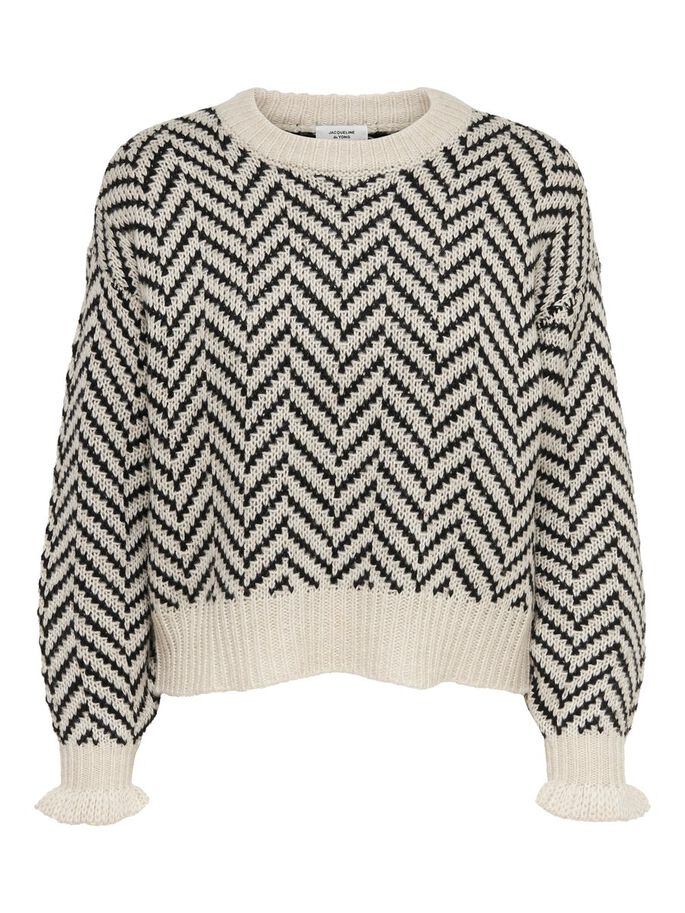 PATTERNED KNITTED PULLOVER, Cement, large