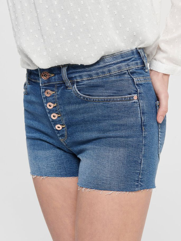ONLHUSH WH BTN DENIM SHORTS, Medium Blue Denim, large