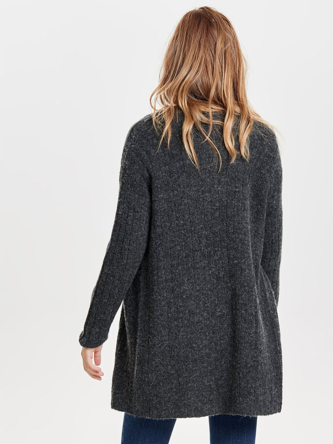 LONG SLEEVED KNITTED CARDIGAN, Dark Grey Melange, large