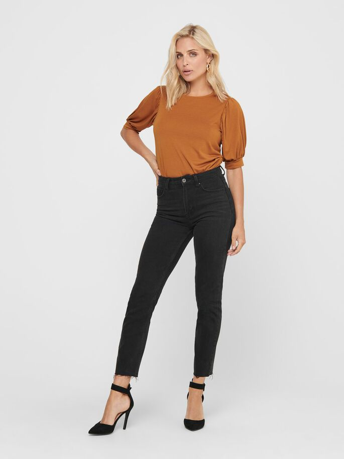 PUFF SLEEVE TOP, Leather Brown, large