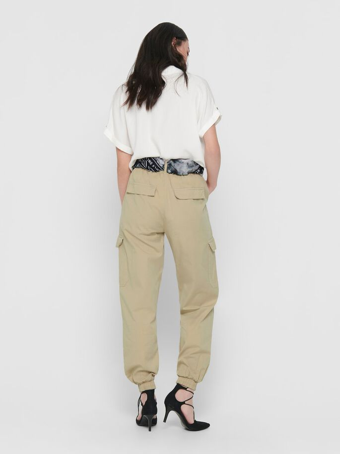 REGULAR FITTED CARGO TROUSERS, Humus, large